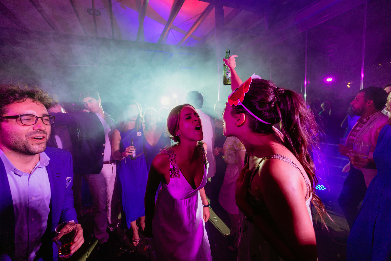 wedding disco taken to the next level in moody lighting and smokey haze.