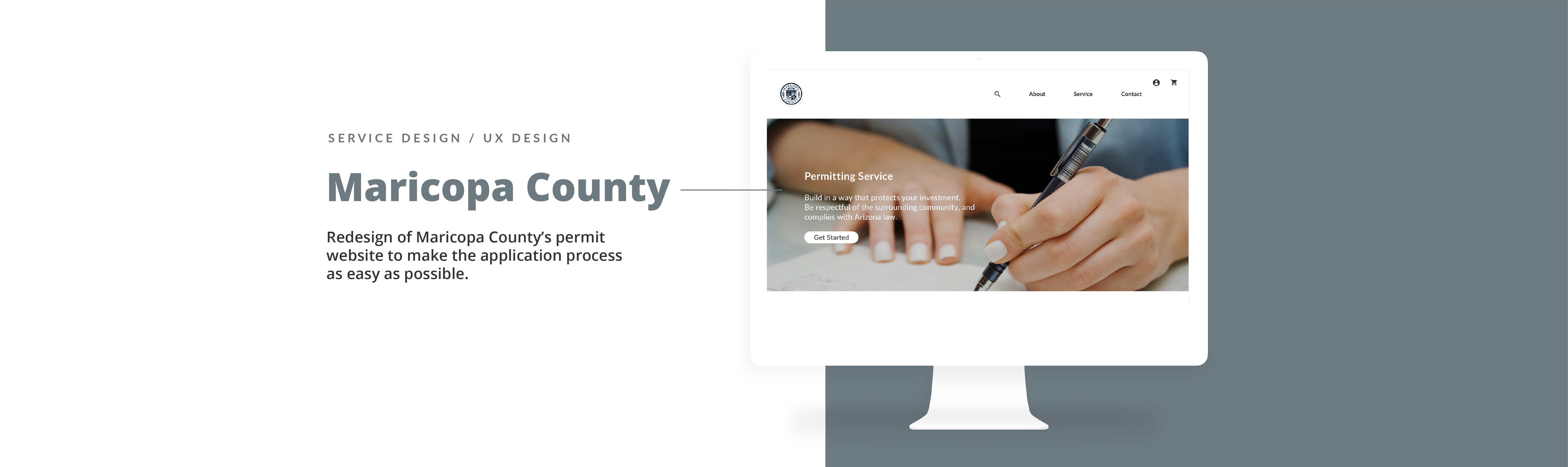Collaboration with Maricopa county to redesign its permit website to make the application process as easy as possible. Preview mockup screens of the project on the side.