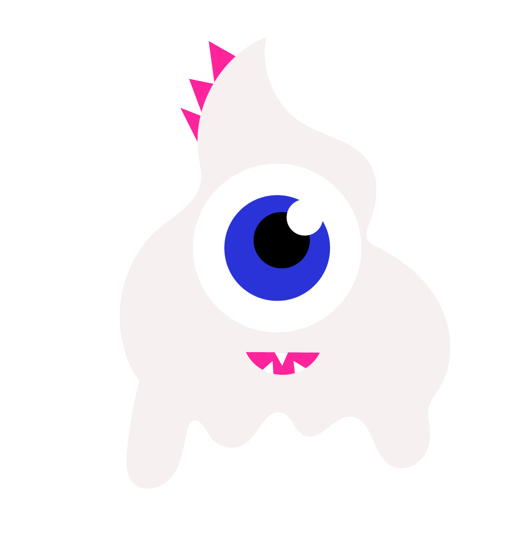 A white ice cream monster with one eye