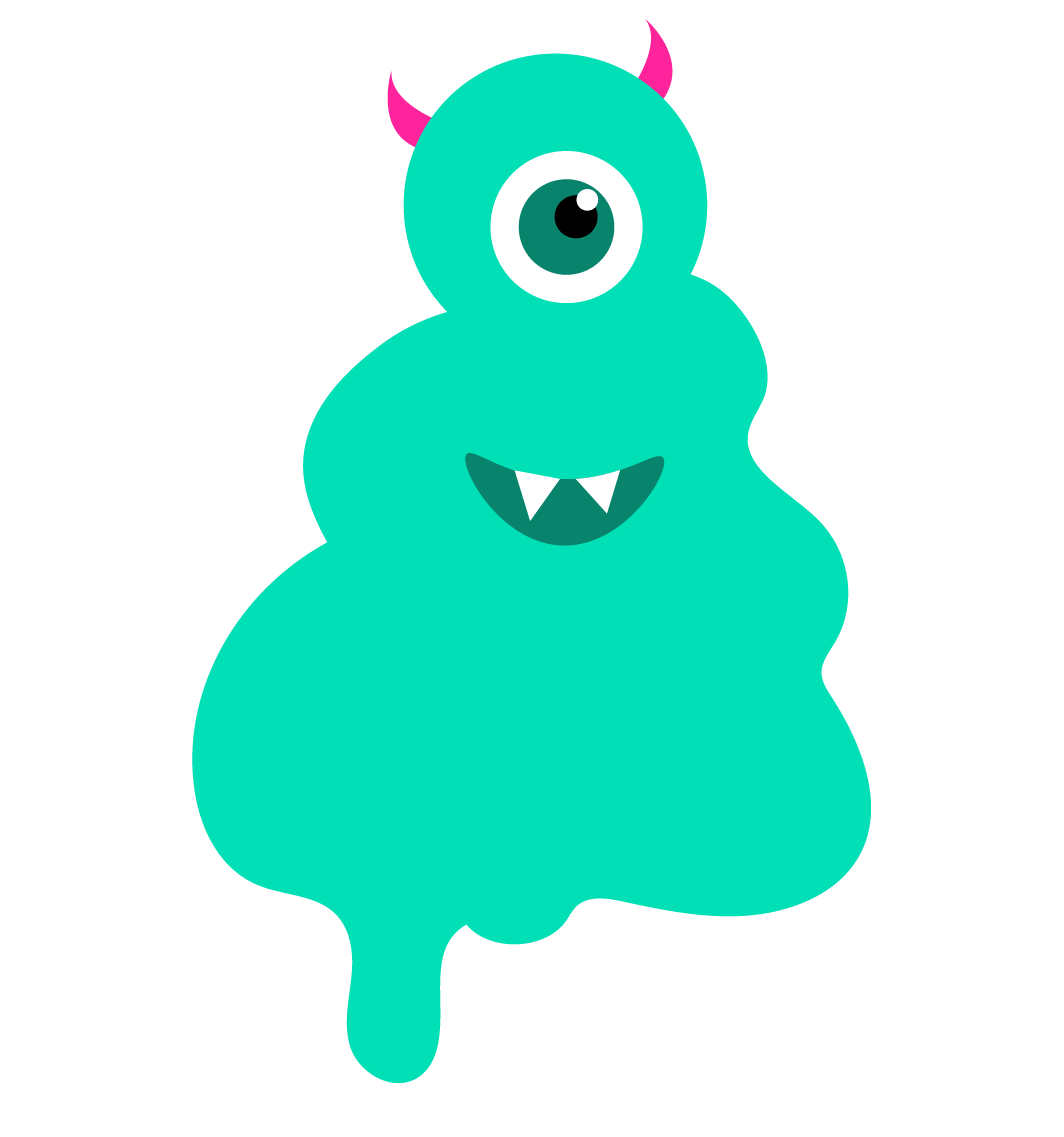 A green ice cream monster with one eye and horns