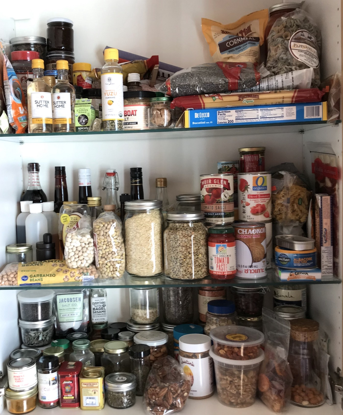 A stocked pantry full of staple ingredients