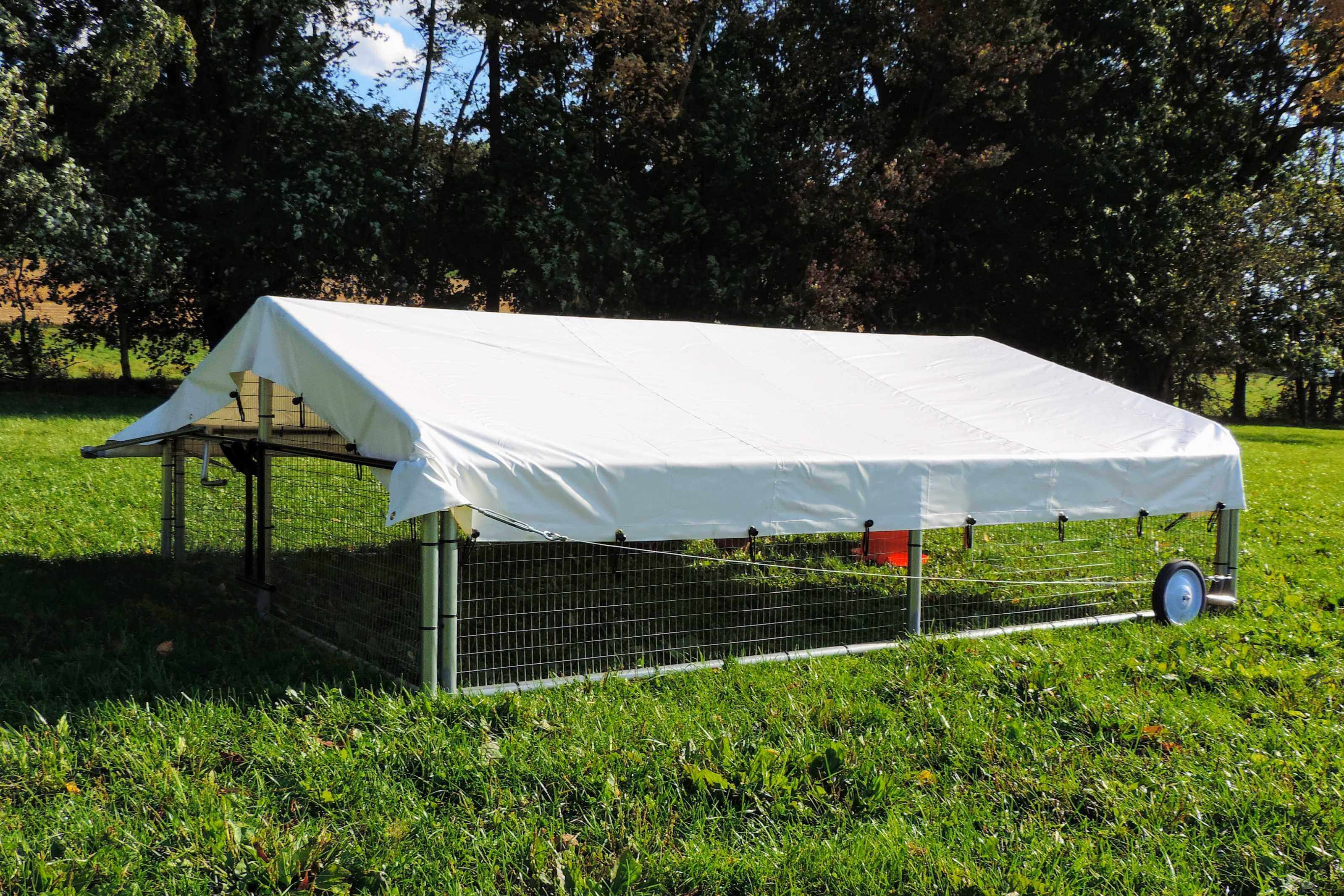 Commercial mobile chicken coop for raising pastured poultry.