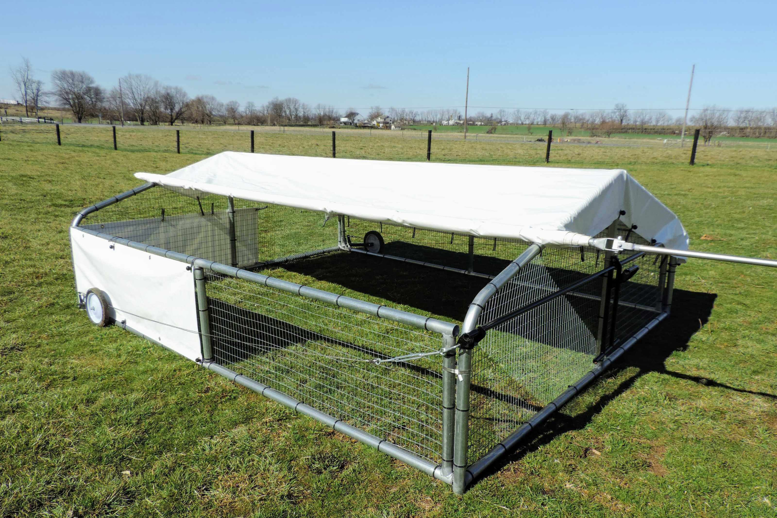 Chicken coop for pastured layers and broilers.