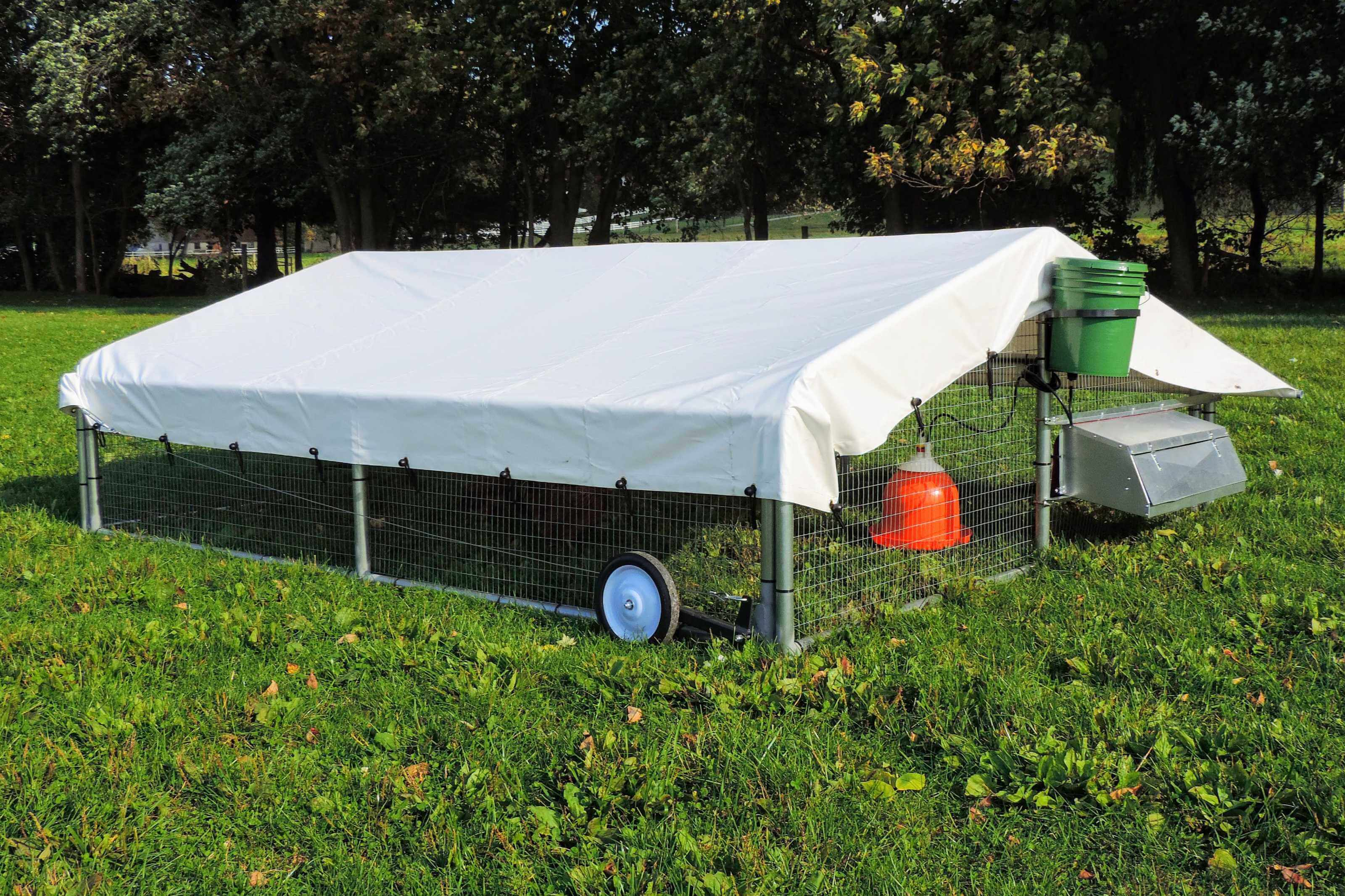 Chicken coop for pastured layers and broilers with wheel kit for easy moving
