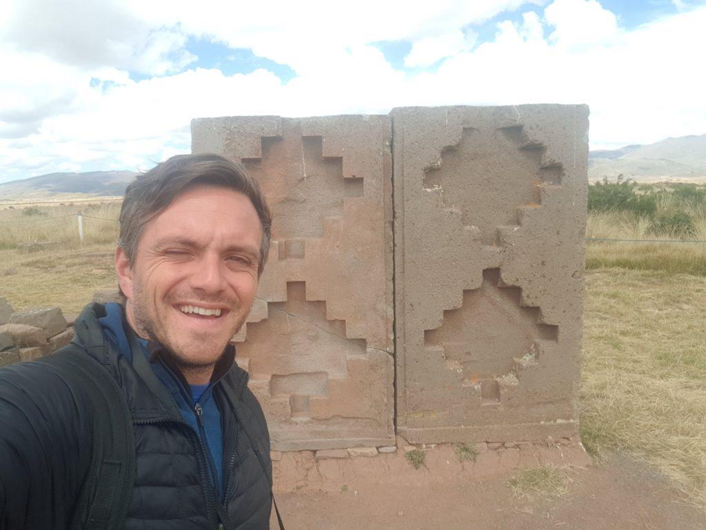Selfie with the Chakana at Tiahuanaco