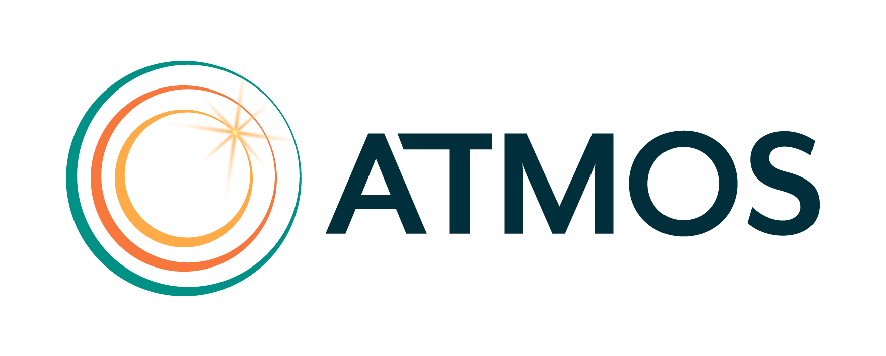 ATMOS logo. 3 circles with burst of light in upper right and word ATMOS.