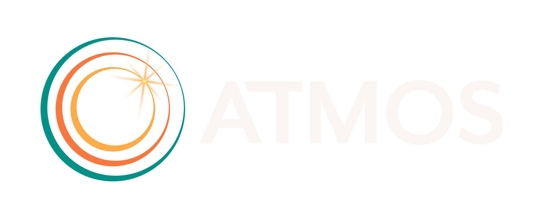 ATMOS Financial logo. 3 circles with burst of light in upper right and word ATMOS.