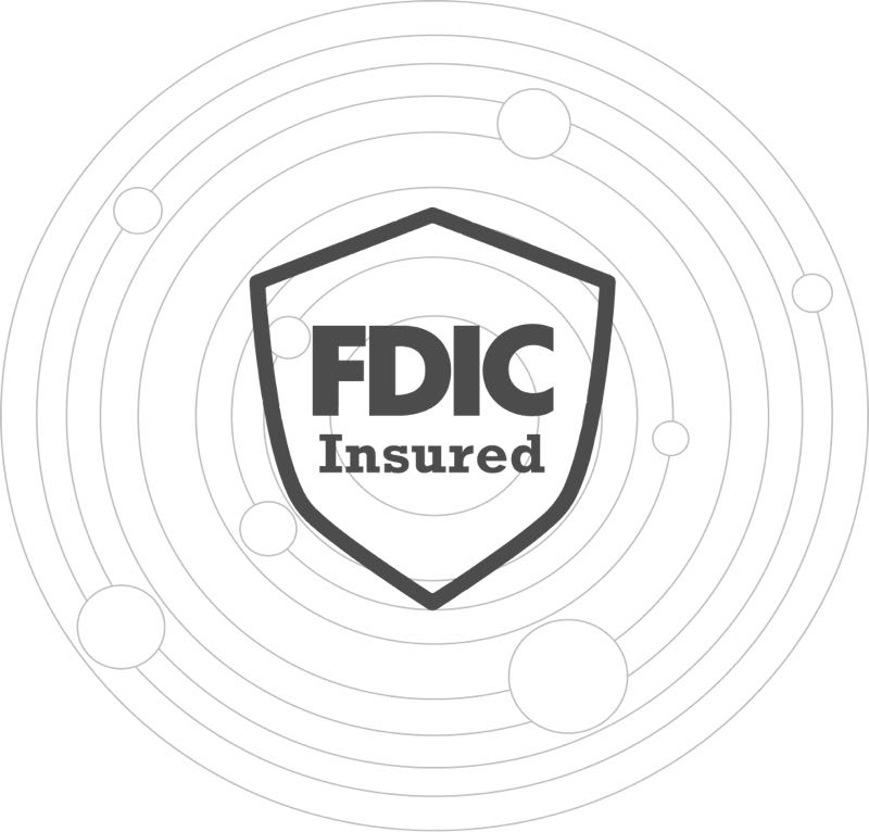 image of a shield with FDIC  on it and rings around it