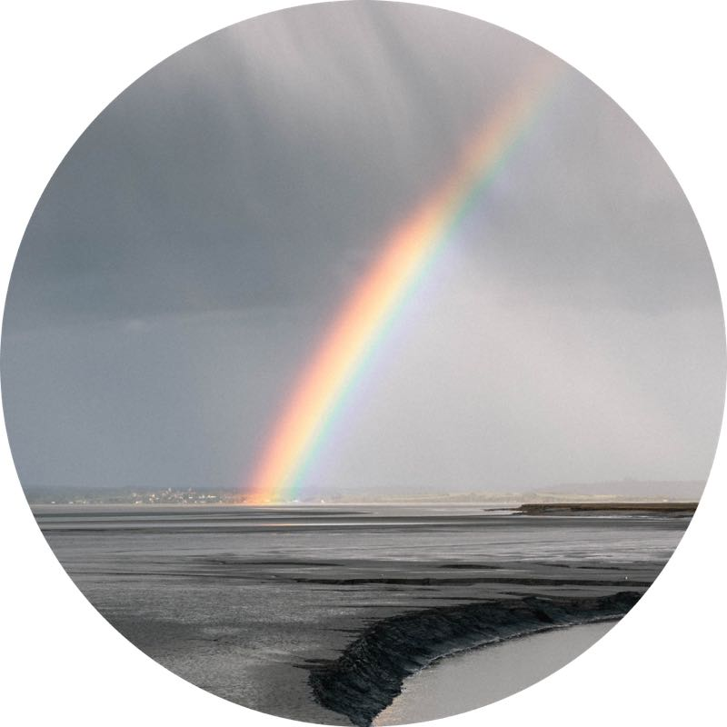 image of a rainbow over water