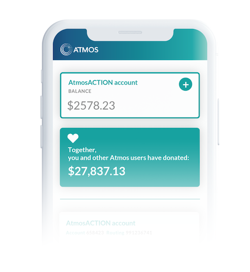 phone with Atmos mobile app showing an example account details