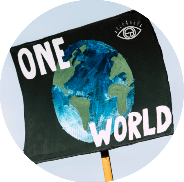 """image of banner with Earth and words """"One World"""" on it"""