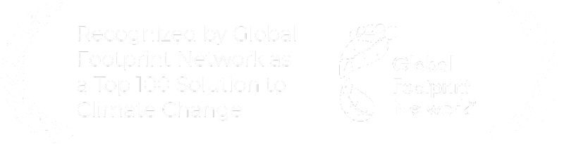 an award showing that the global footprint network recognized atmos as a top-100 solution to climate change
