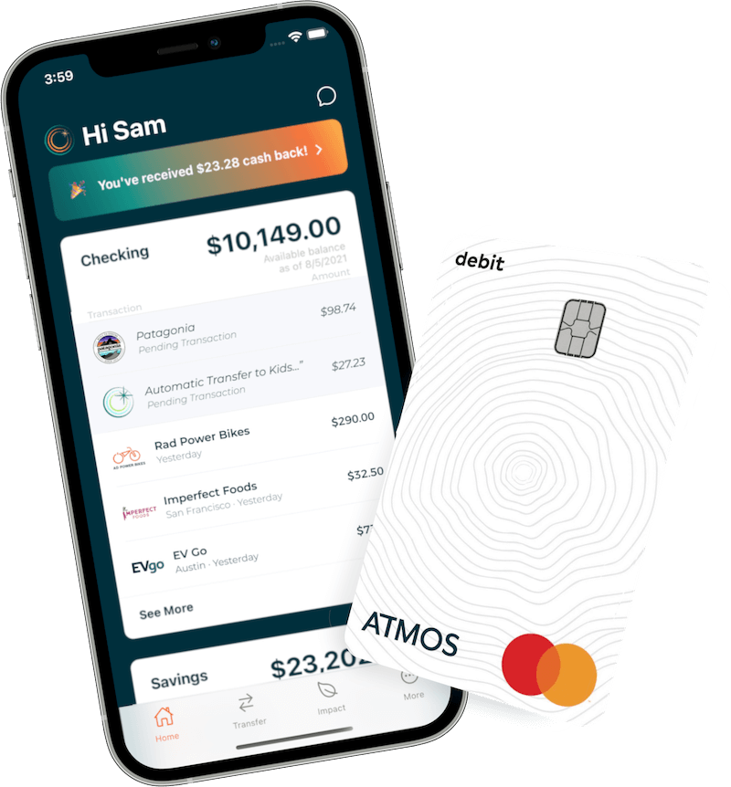 mobile phone showing Atmos app and debit card