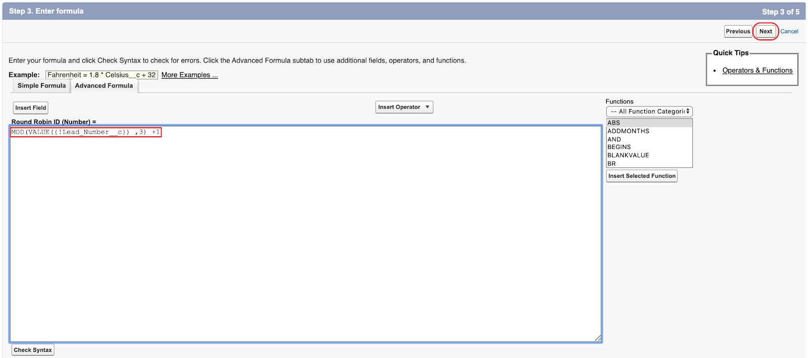 Advanced Formula Settings in Salesforce