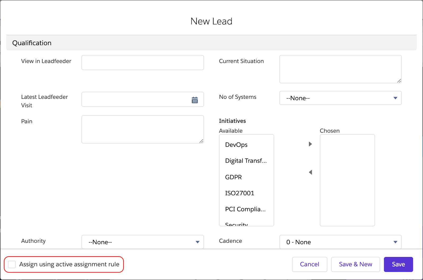 Lead Edit Screen in Salesforce