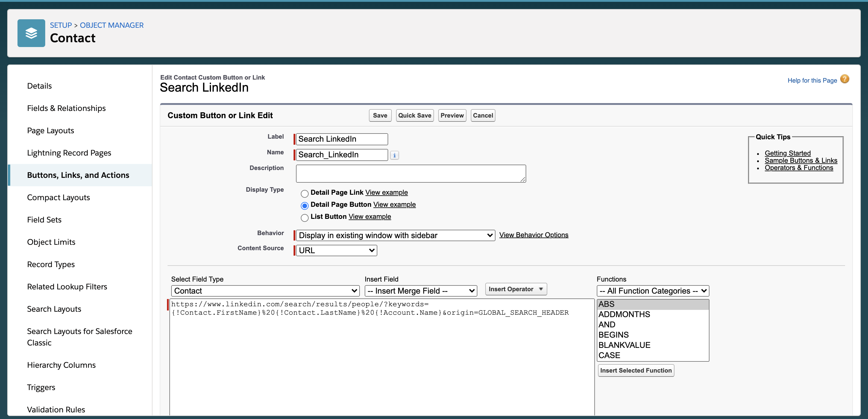 Creating the URL for the custom Salesforce button