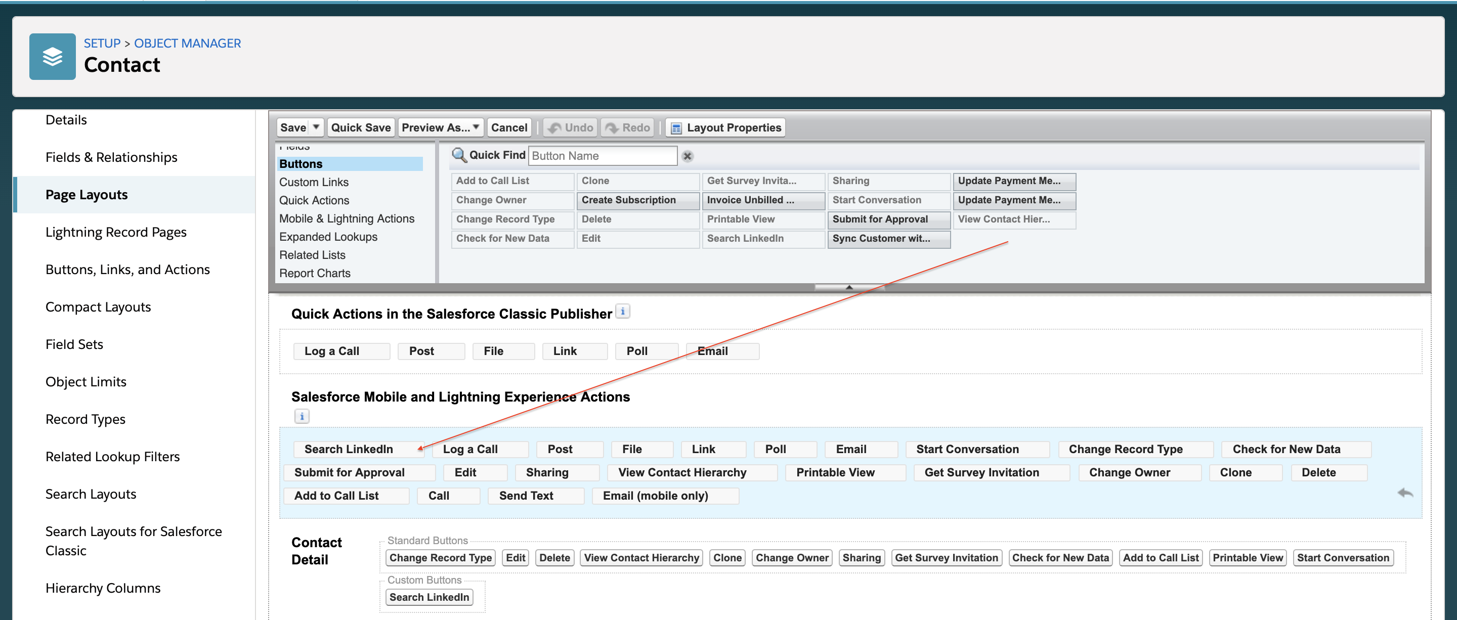 Adding the button to the Salesforce page layout
