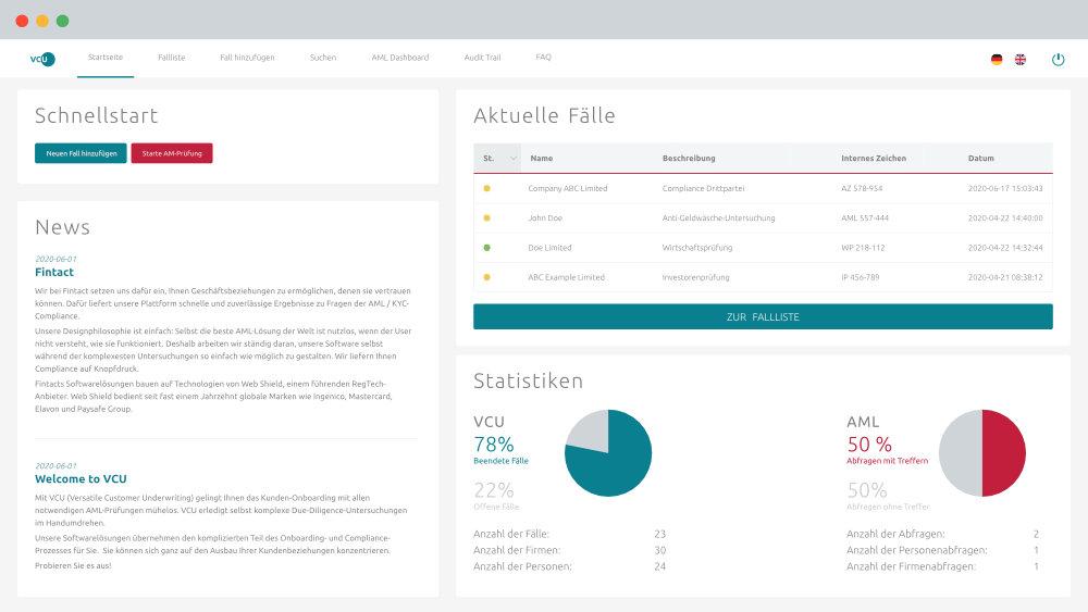 VCU-Benutzer-Homepage mit aktuellen Nachrichten, aktuellen Prüffällen und AML-Statistiken