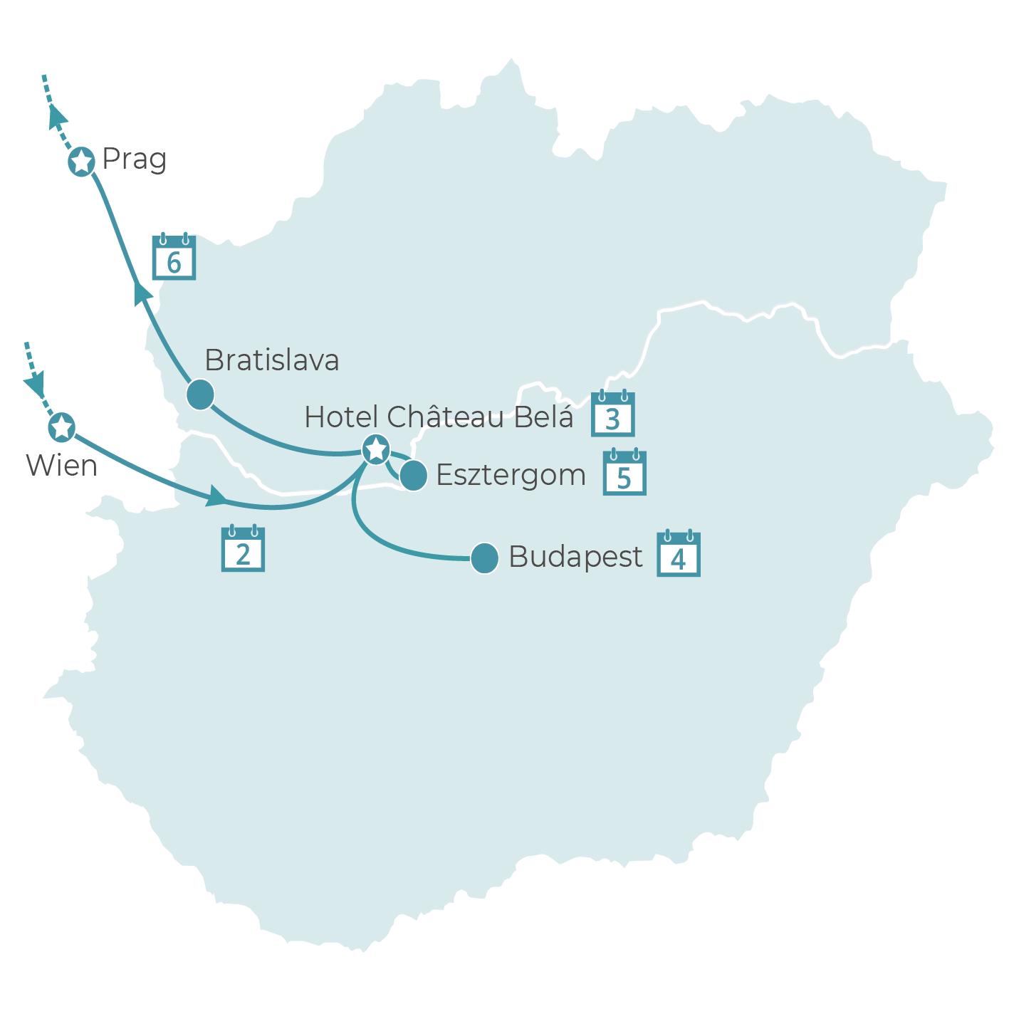 königliche Hauptstädte der Donau im Schlosshotel Château Belá