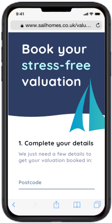 iPhone image, showing how easy a Sail Homes Valuation is. Book yours today and sell your house for less than other agents.