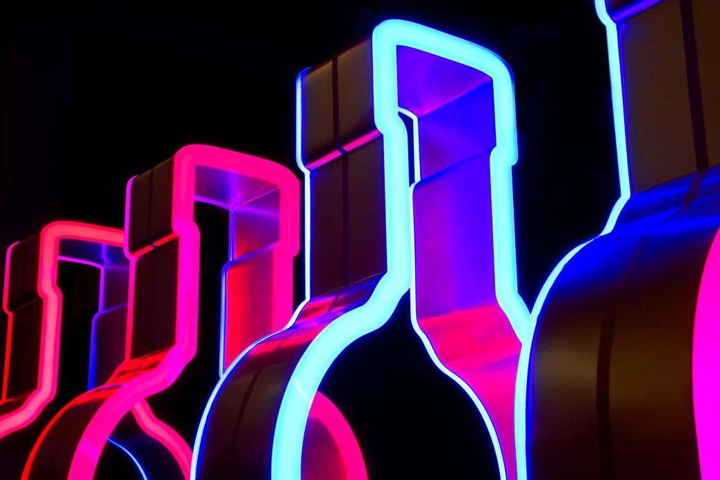Bottles neon sign