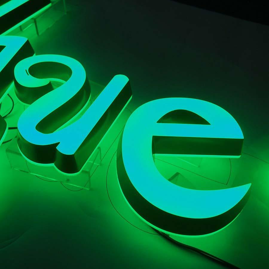 Green illuminated sign