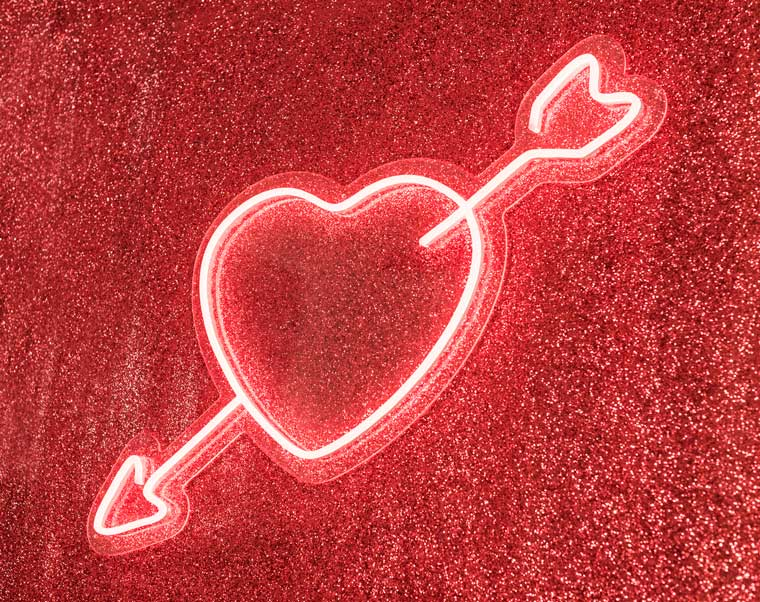 Red heart neon sequin wall