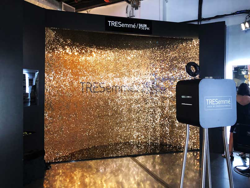 Gold photography sequin wall
