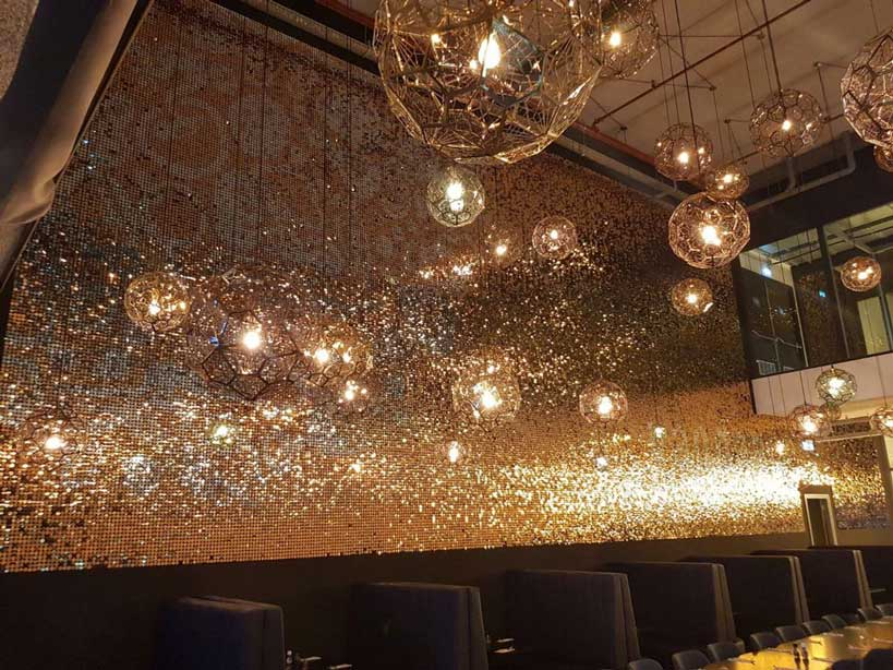 Gold retail sequin wall