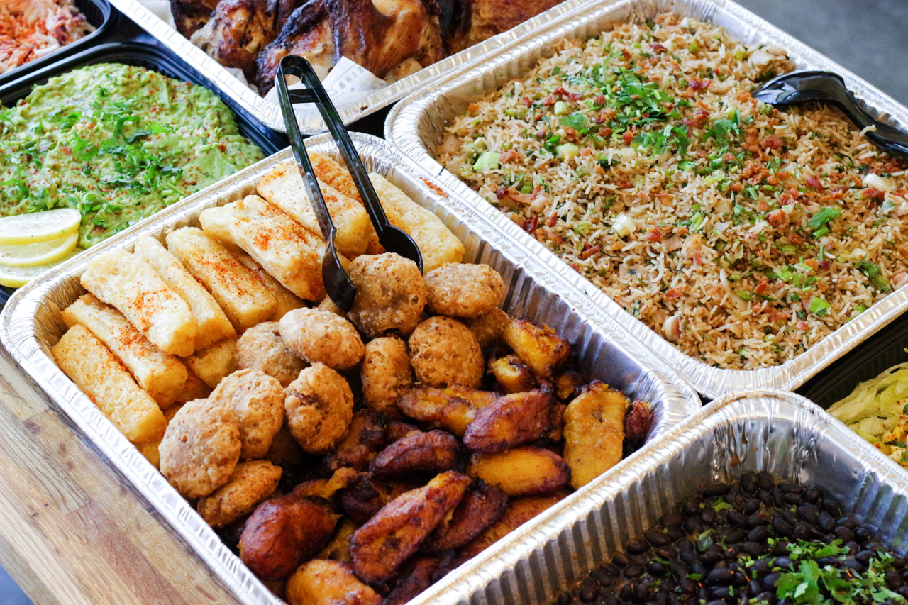 A spread of catered food