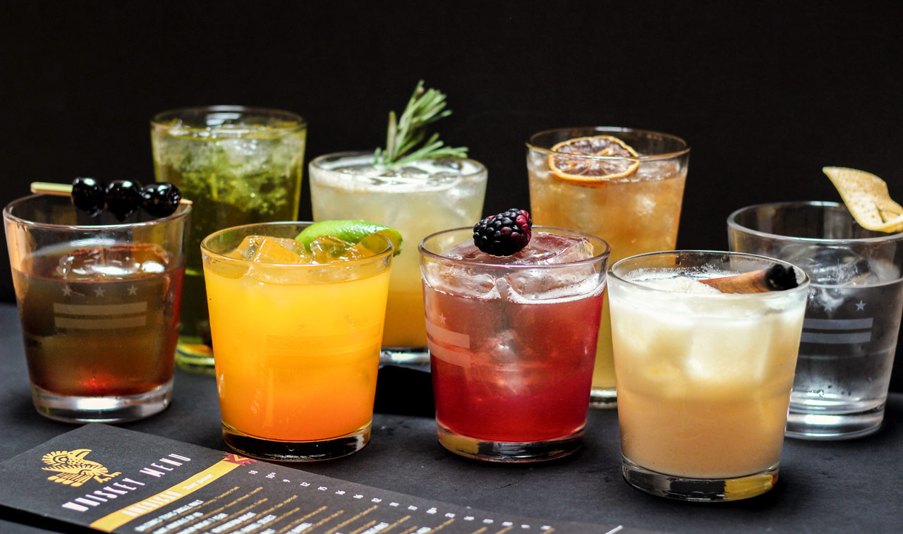 A colorful array of whiskey cocktails
