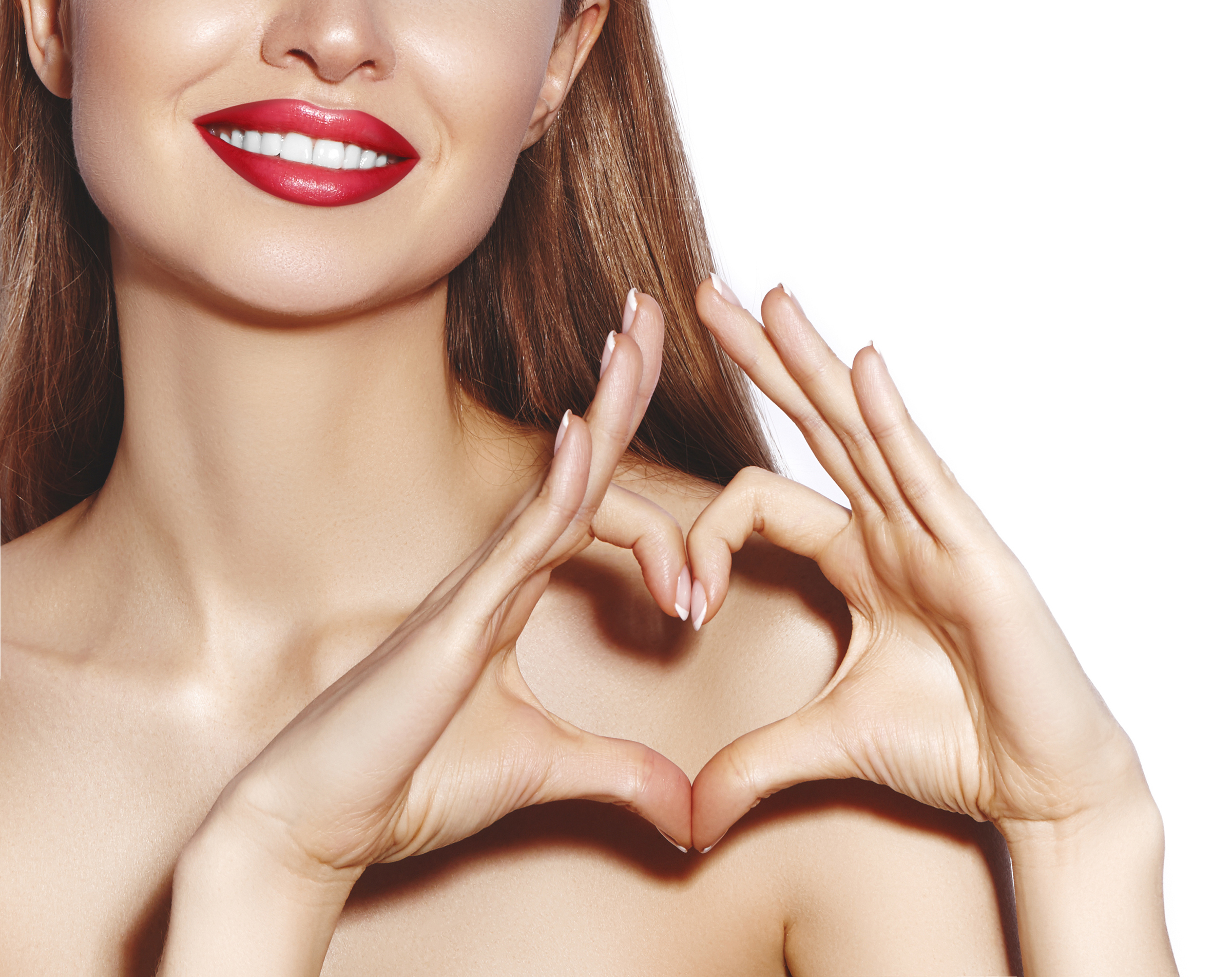 Girls with Red Lipstick and Heart Hands