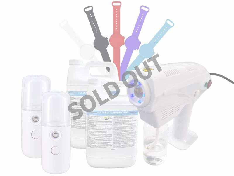 image of family disinfecting package