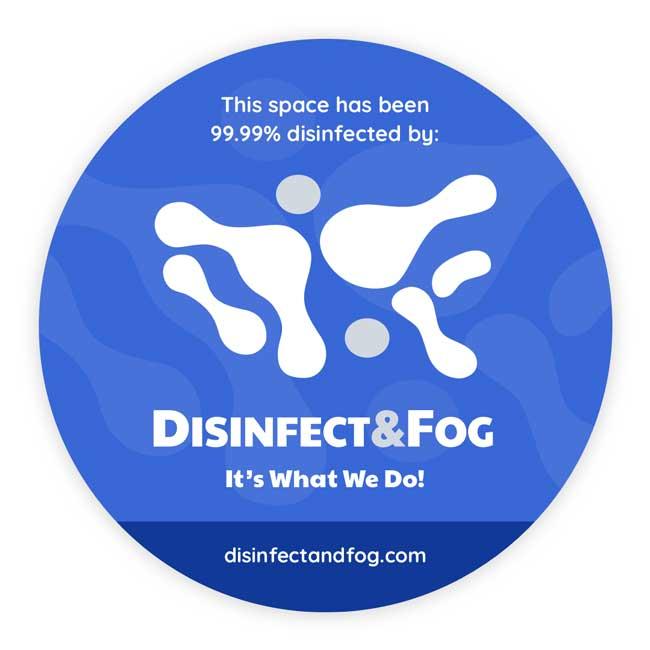 Disinfect & Fog sticker