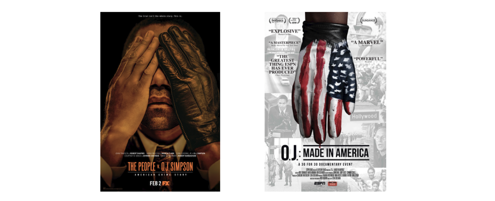 Theatrical film posters for The People v. O.J. Simpson and O.J. Made in America