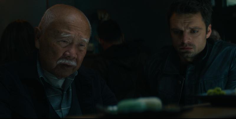Bucky Barnes/Winter Soldier (Sebastien Stan) and Yori (Ken Takemoto) in Falcon and the Winter Soldier
