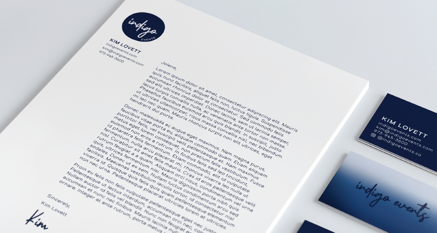 Indigo Events letterhead and business card designs