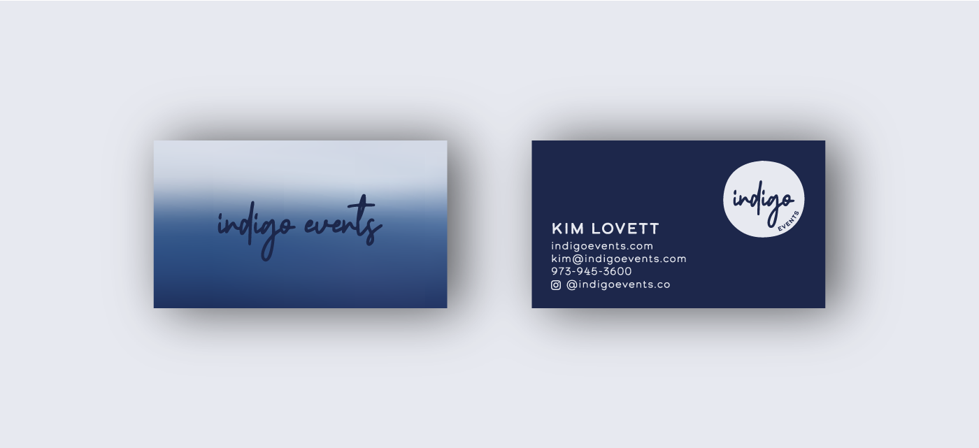 indigo events business card designs