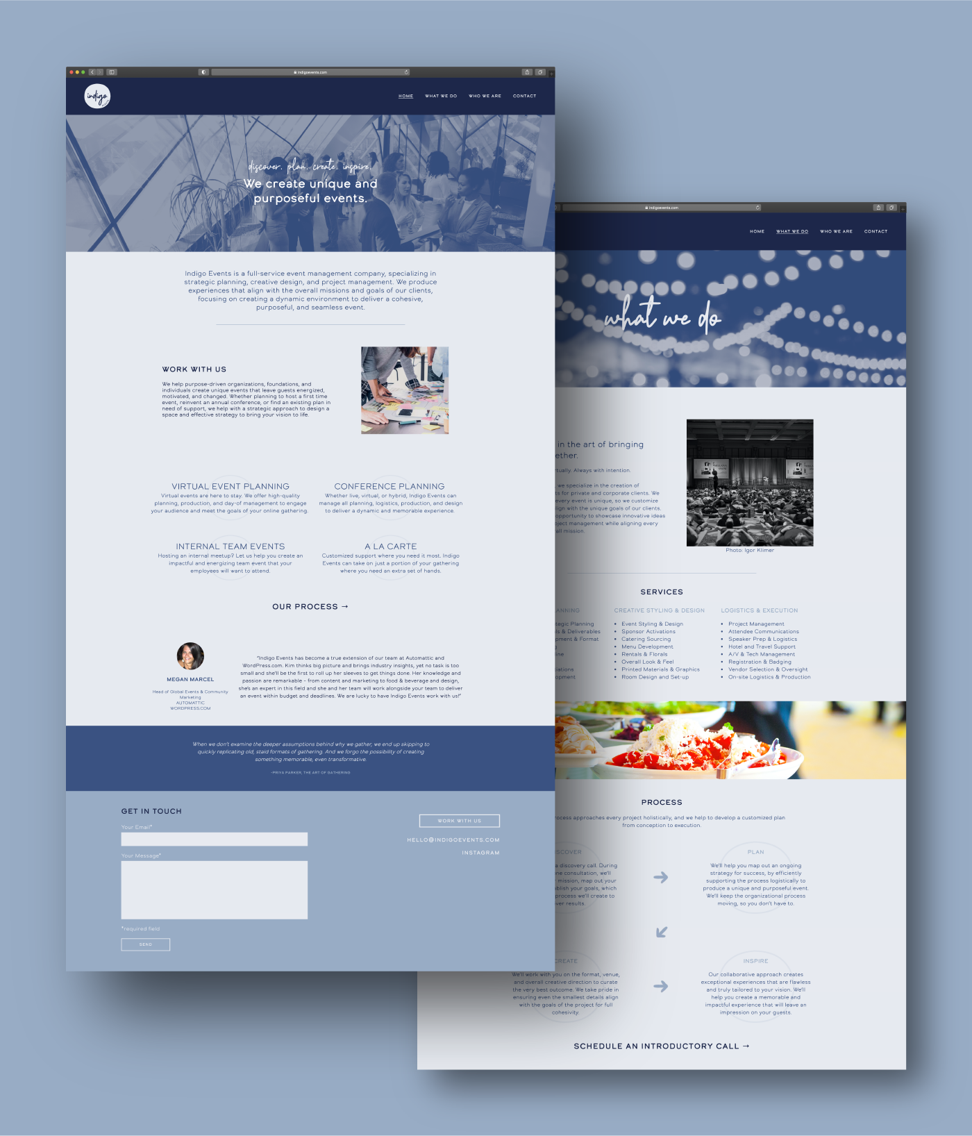 indigo events website design
