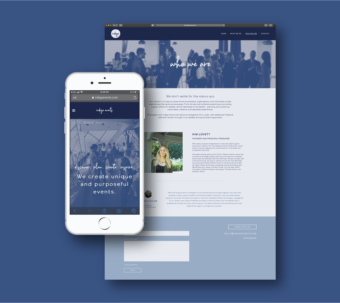 indigo events website design with mobile