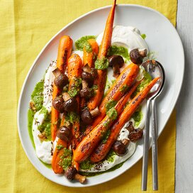 Roasted Carrots & Mushrooms with Scallion Salsa Verde