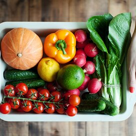 Veggies in a tray