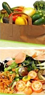 Two pictures, one on top of the other, showing perishable foods and wasted food