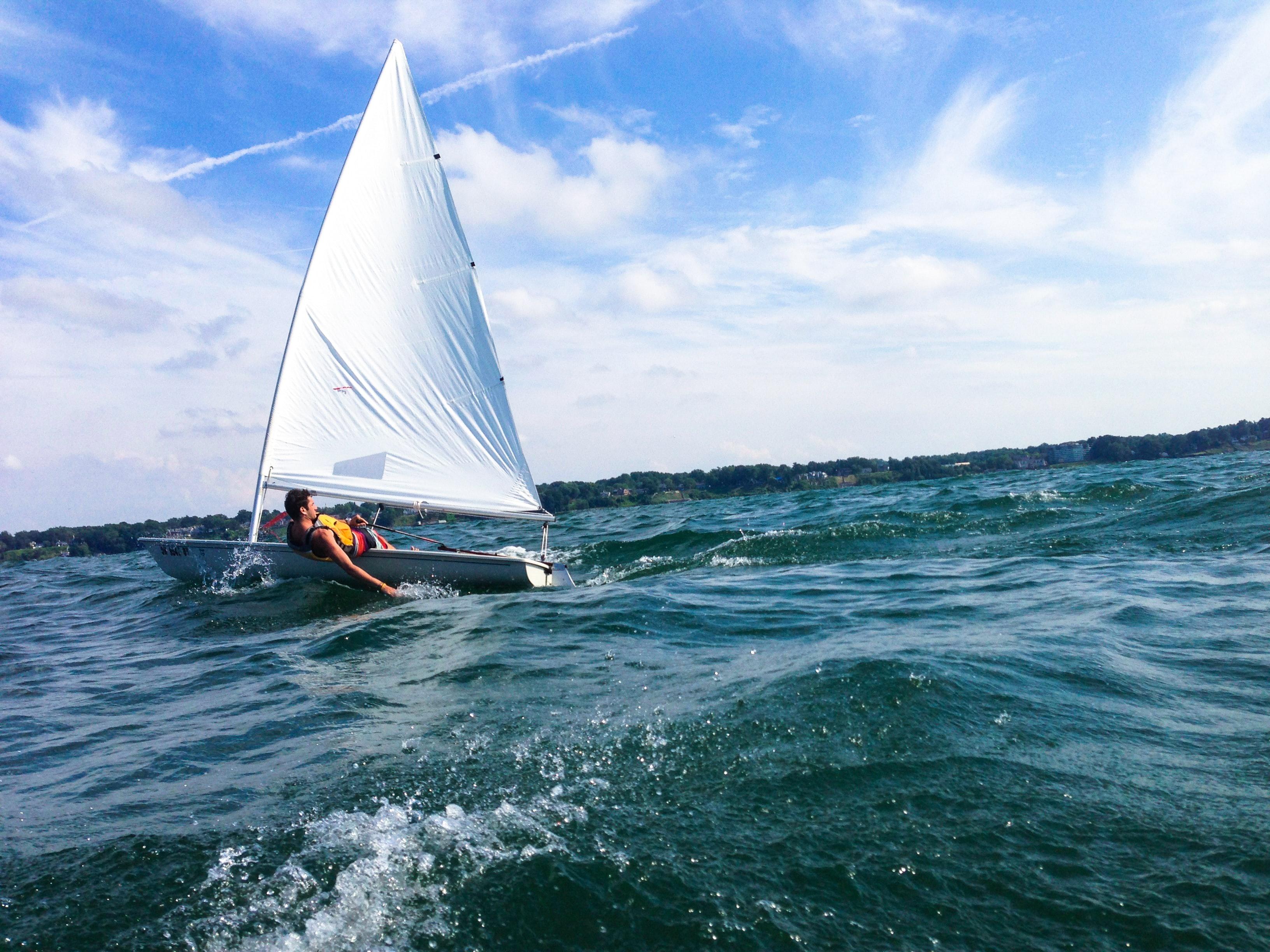 Sailing at boat at camp in America.