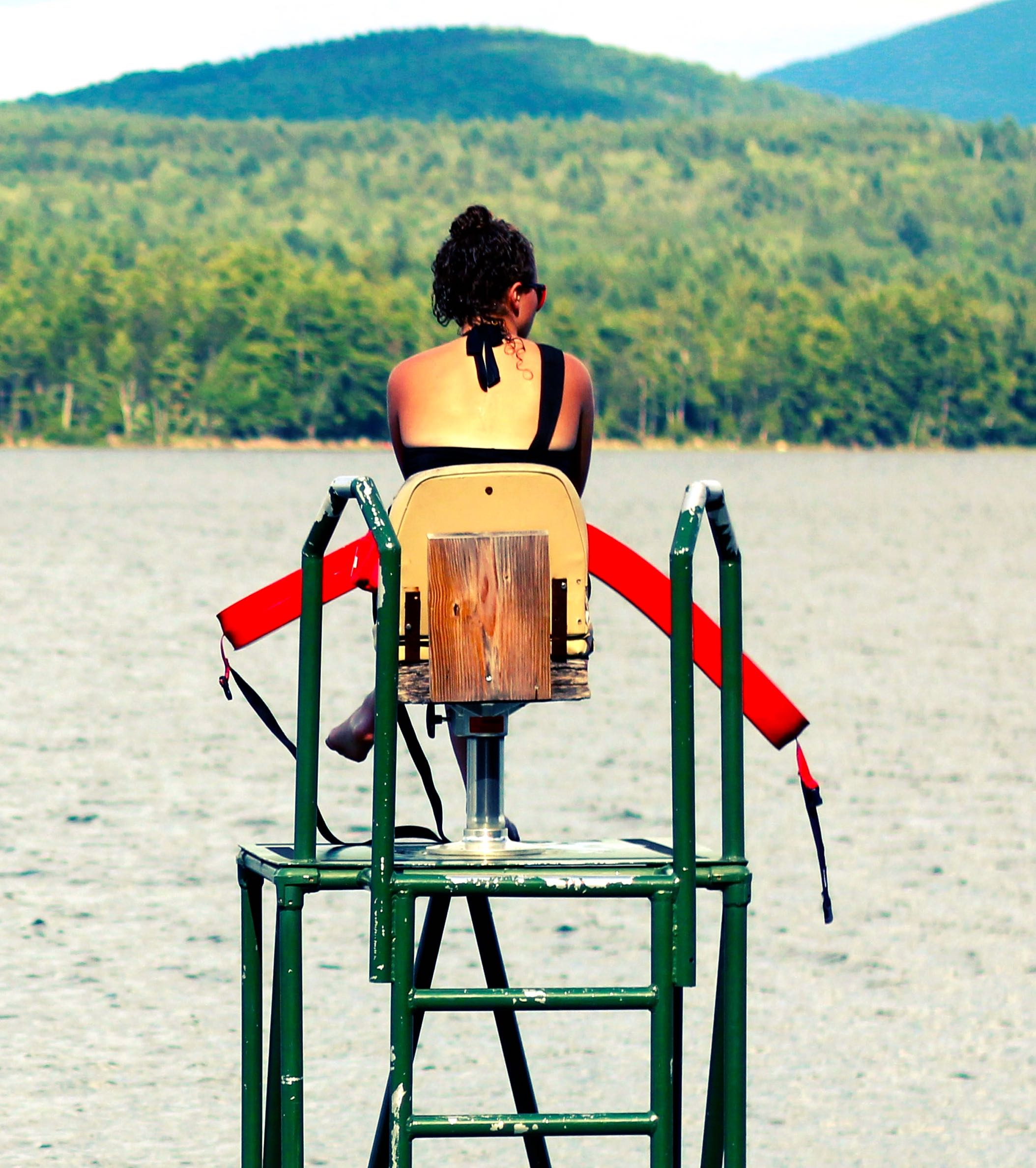 Lifeguard watching lake