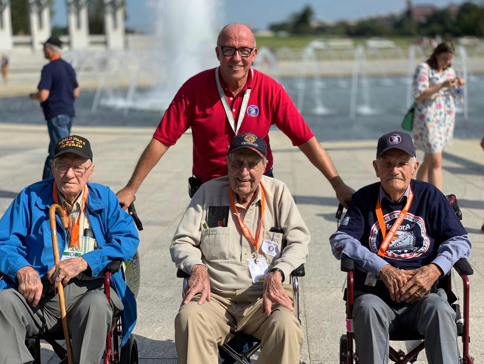 Eddie with WWII veterans in Washington, DC