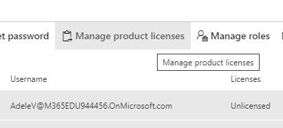 Screenshot of the Manage product licenses tab and a user underneat, listing as unlicensed.