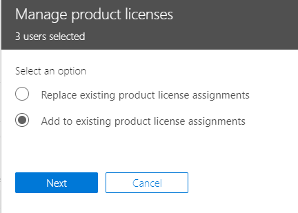 Screenshot of the Manage product licenses window, with the Add to existing product license assignments radio button selected.