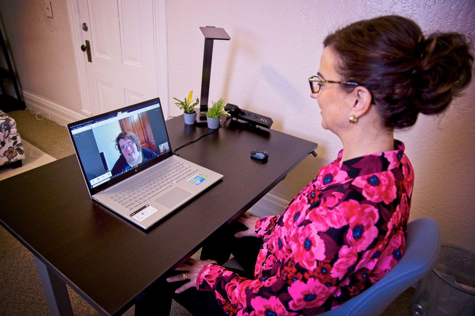 Mary Ellen Banevedas provides remote telehealth services