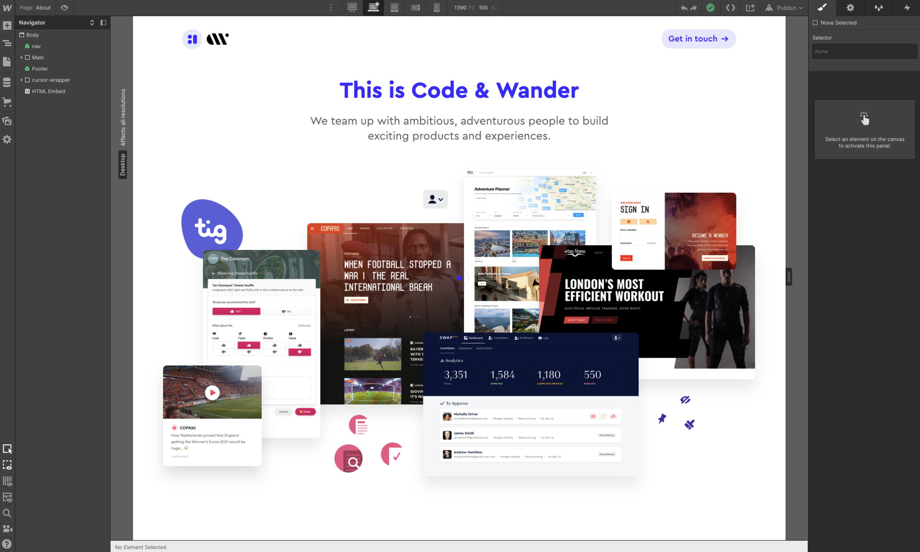 Screenshot of Webflow designer mode